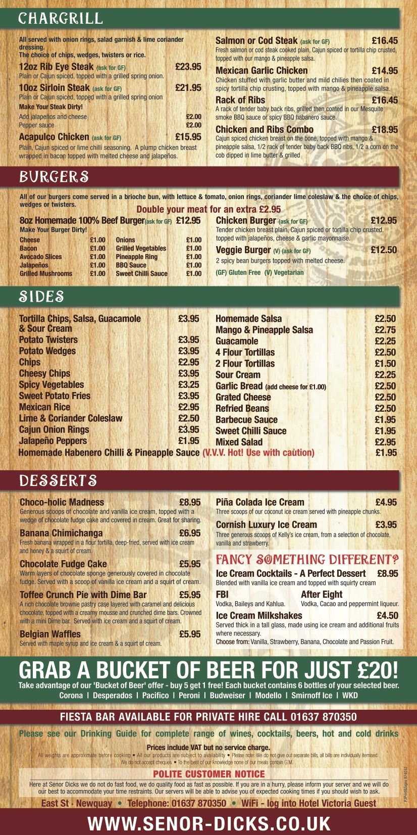 New menu 2019 | Señor Dicks, Newquay